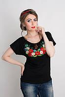 Красивая вышитая женская футболка черного цвета