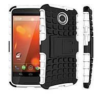 Чехол 2 в 1, бампер накладка для Motorola MOTO X2, основа белая, протектор/подставка пластик, черного цвета