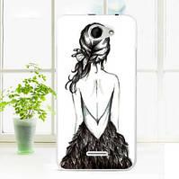 Силиконовый чехол накладка для HTC Desire 516 с картинкой девочка с косой