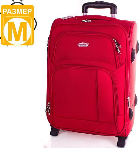 Качественный, средний чемодан на 2-х колесах 56 л. SUITCASE (СЬЮТКЕЙС) APT001M-1 красный