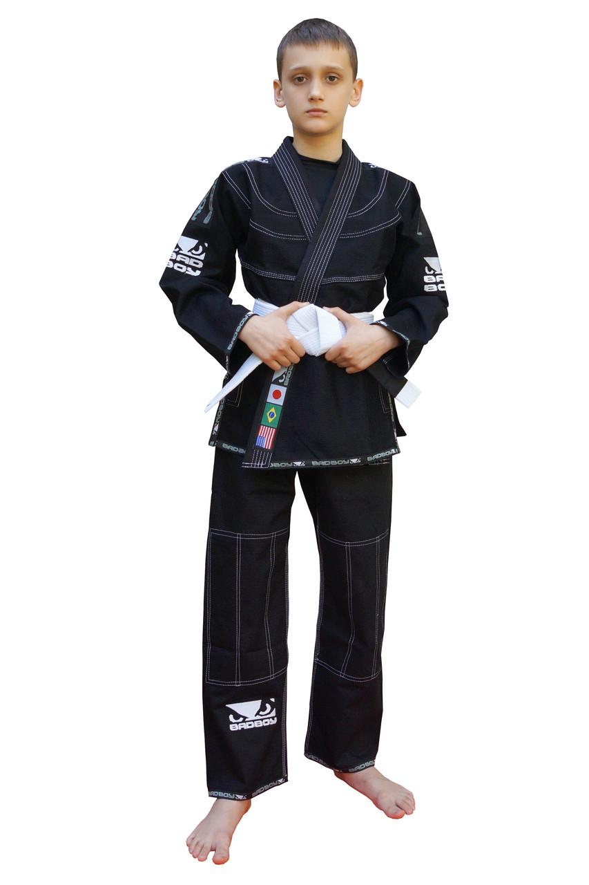 Кимоно детское для бразильского Джиу Джитсу BAD BOY Черное