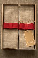 Набор 4 шт Салфетки лен 43*43 см красный бант