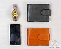 Кожаный кошелек ручной работы, кошелек двойного сложения, фото 1