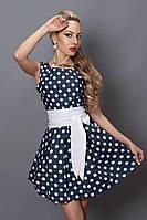 Оригинальное женское платье джинс в белый горох