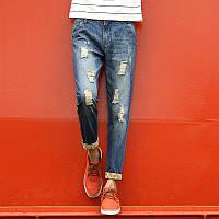 Мужские джинсы со рваными вставками