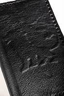 Кожаный кошелек ручной работы, черный кошелек мужской, фото 1