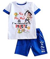 """Комплект """"Пираты"""" летний на мальчика футболка и шорты кулир, рост 128"""