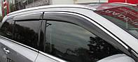 Дефлекторы окон (ветровики) Mercedes E-klasse W-212 2009-> 4дв  Хром молдинг