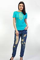 Женская вышитая футболка крестиком, разные расцветки