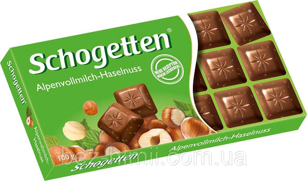 Альпийский молочный шоколад с лесными орехами Шогетен, Германия. 100г.