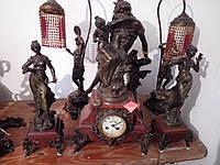 Каминный набор. Старинные часы каминные с статуэтками. Середина ХІХ века.