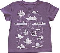 Футболка для мальчика, фиолетовая с кораблями, рост 98 см, Robinzone