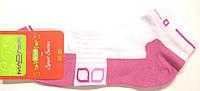 Цветные женские носки для спорта белые с фиолетовым