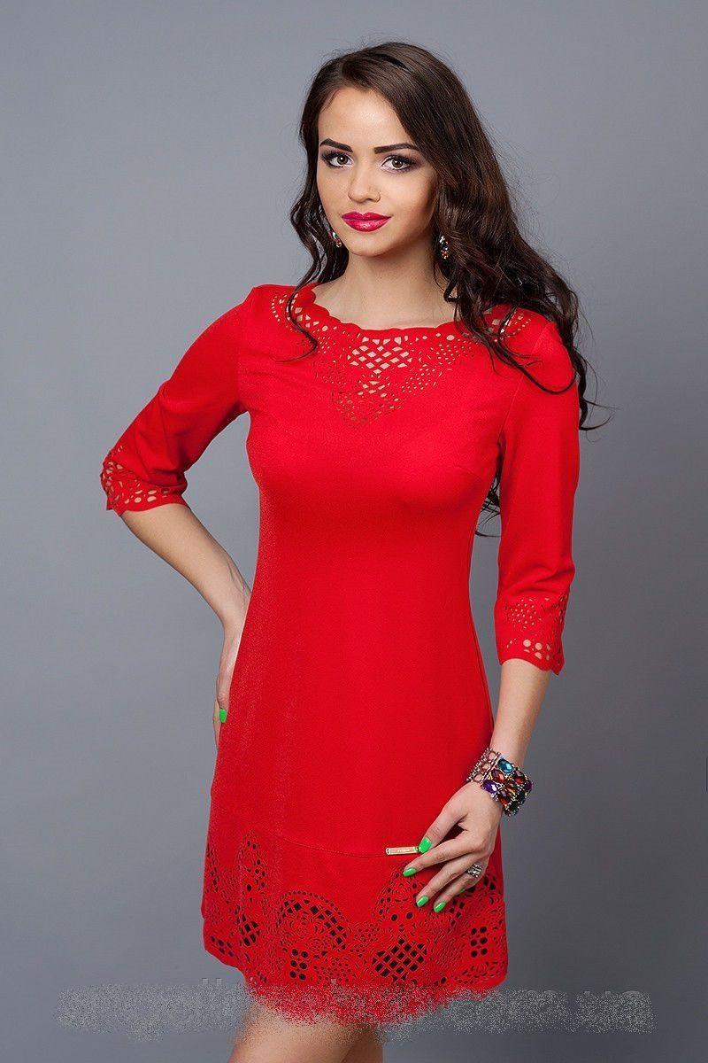 Жіноче плаття червоне з т. синім
