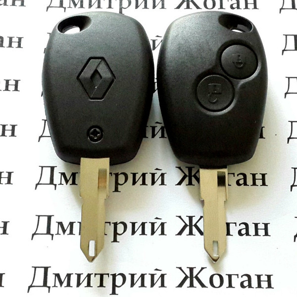 Авто ключ для RENAULT (Рено) 2 кнопки, лезвие NE 73, чип 4A (PCF 7961), частота 433MHZ