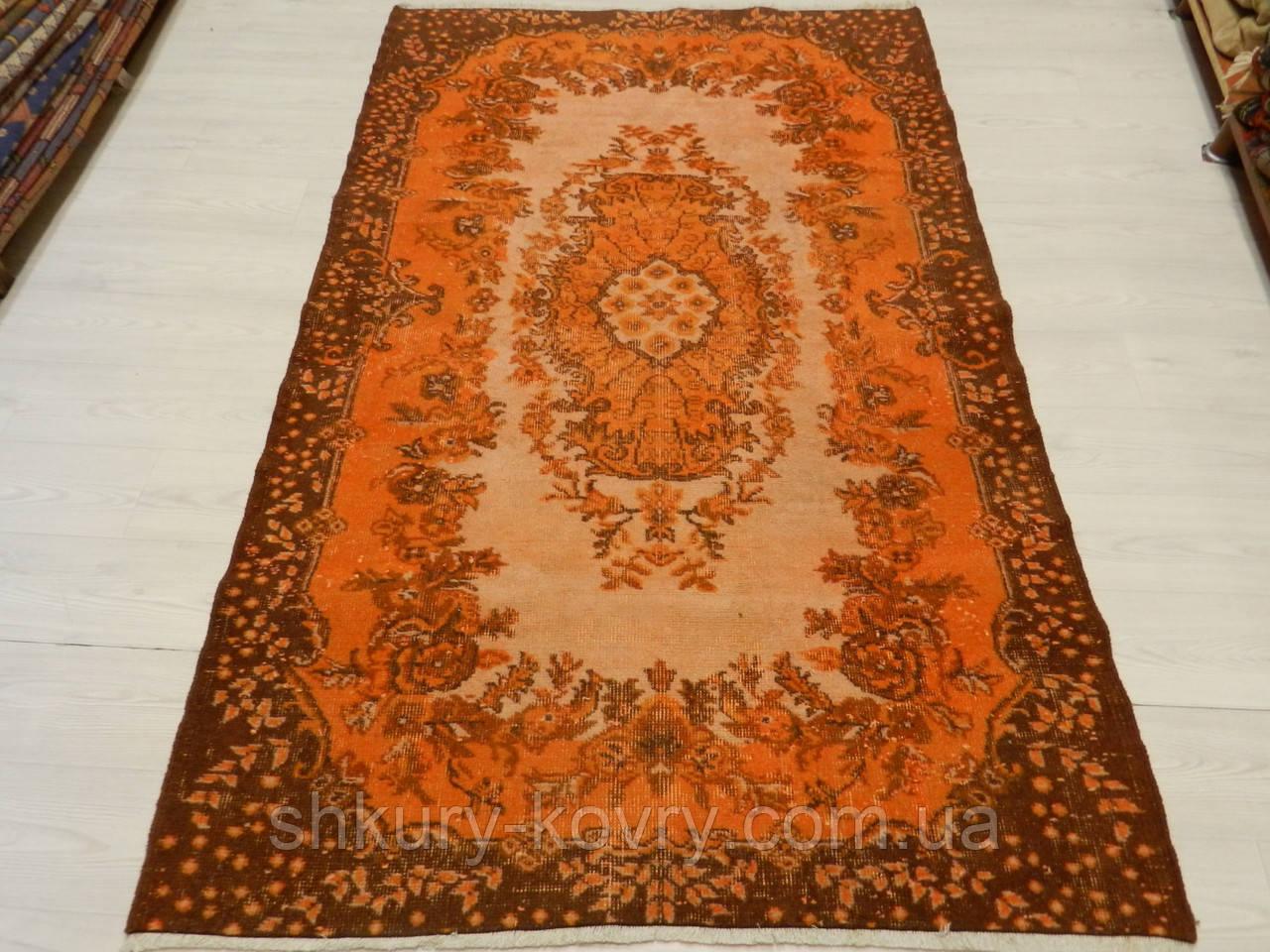 Оранжевый ковер винтажный классический безворсовый