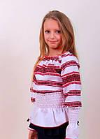 Вышитая оригинальная блуза для девочки с тканой вставкой