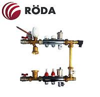 Смесительный узел Roda 4 выхода (латунь) Смесительная группа,расходомеры,термоклапана,байпас.