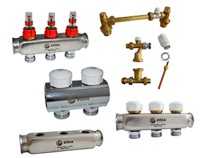 Смесительный узел Roda 4 выхода (латунь) Смесительная группа,расходомеры,термоклапана,байпас., фото 2