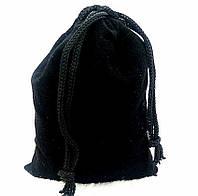 Мешочек для сувениров с затяжкой, бархатистая ткань, цвет черный, размер 9х12 см