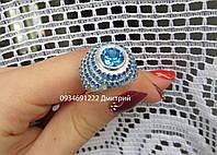 Эксклюзивное  серебряное кольцо с россыпью камней, фото 1