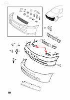 Направляющая (кронштейн, опора, крепление, рейка) переднего бампера левая (пенопласт) OPEL ASTRA-G CLASSIC