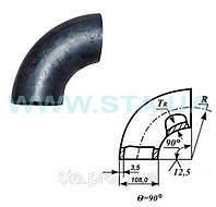 Отвод крутоизогнутый стальной 108x3,5мм ГОСТ17375-01