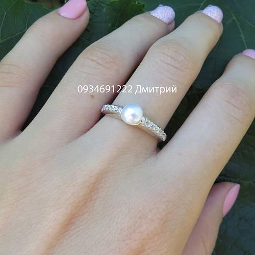 Серебряное кольцо с жемчугом и камнями