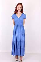 Женское однотонное платье на лето №1023 (синий)