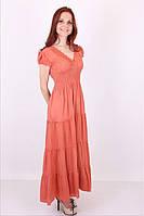 Женское однотонное платье на лето №1023 (коралл)