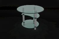 Стол журнальный круглый с полочками с калённого стекла МТ-07
