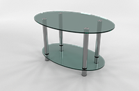 Кофейный стеклянный столик овальный МТ-08