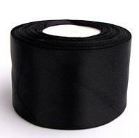 Лента атласная 5 см черная