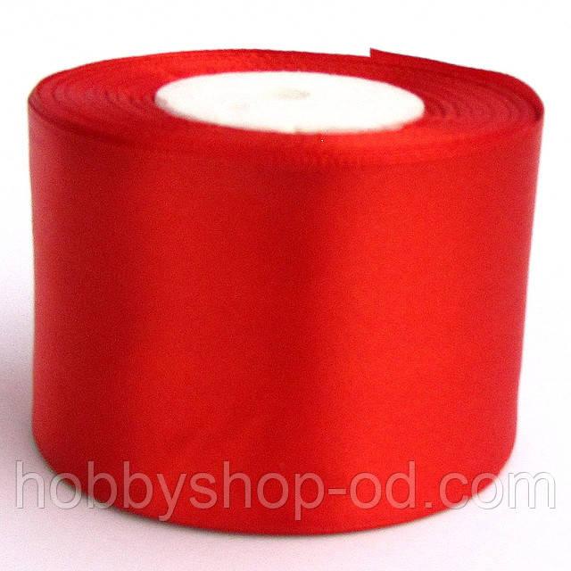 Лента атласная 5 см красная
