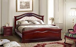 Кровать деревянная из массива ольхи с мягким изголовьем  Маргарита  Микс мебель, цвет каштан