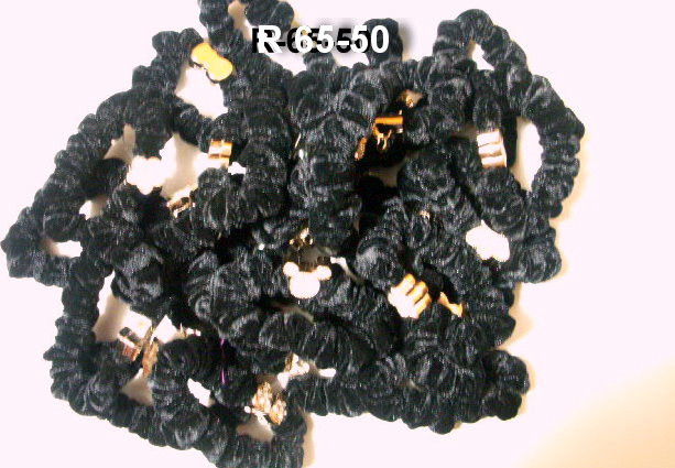 Резинка  чорна з білим камінням   R-65-50