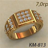 Представительский Золотой мужской перстень 585* с россыпью камней