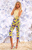 """Летний женский костюм с брючками 283 """"Капри Лён Цветы"""" в расцветках"""