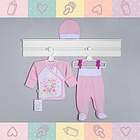Костюм-Набор для Девочки, в роддом рукав-нецарапка, 0-3 месяцев, Хлопок-Ажур летний, В наличии 56,62 Рост