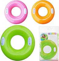 Дитячий надувний круг з двома ручками Intex 59258, однотонний (3 кольори)