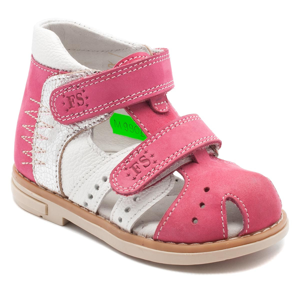Кожаные, розовые  босоножки FS Сollection для девочки,  размер 20-30