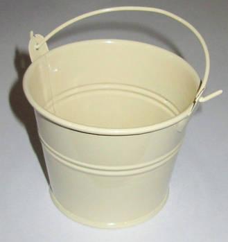 Ведерко декоративное 7,5/6 см, кремовое глянец