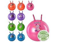 Мяч для фитнеса-45см LT 0025 (50шт) с рожками, ЛК, 2 вида, 5 цветов, 530г,в кульке,18-14,5-7см