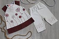 Туника и бриджи ясельный летний костюм для девочки Турция на возраст 6 мес