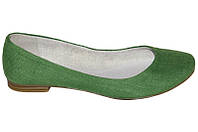 Женские туфли-балетки зеленые