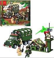 Конструктор BRICK 811 военная машина, блокпост (308 деталей)