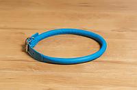 Ошейник кожаный круглый для миниатюрной собаки, 20-25см/6мм, голубой