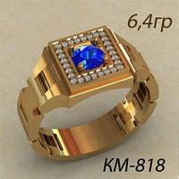 Стильный Золотой мужской перстень 585* с круглым камнем в центре
