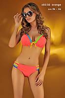 Оранжевый купальник с цветными полосками 602/32 Kathrin
