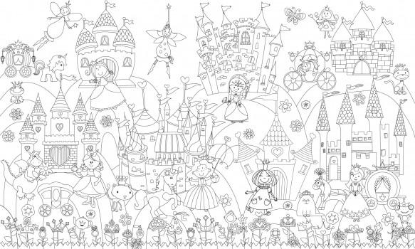 обои раскраска принцессы и замки